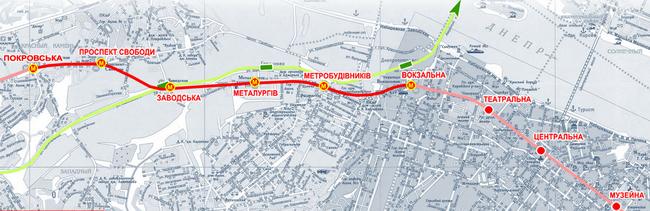 Схема (карта) линий Днепропетровского метрополитена